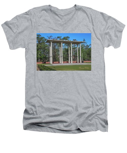 Men's V-Neck T-Shirt featuring the photograph Old Student Union Arches by Gregory Daley  PPSA