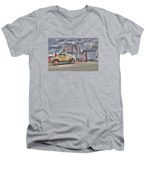 Old Time Gas Station Men's V-Neck T-Shirt by Shelly Gunderson