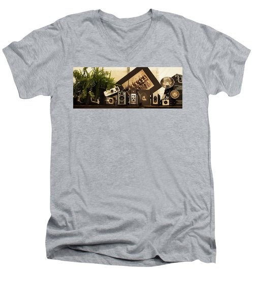 Old Time Photography Men's V-Neck T-Shirt by Cathy Donohoue