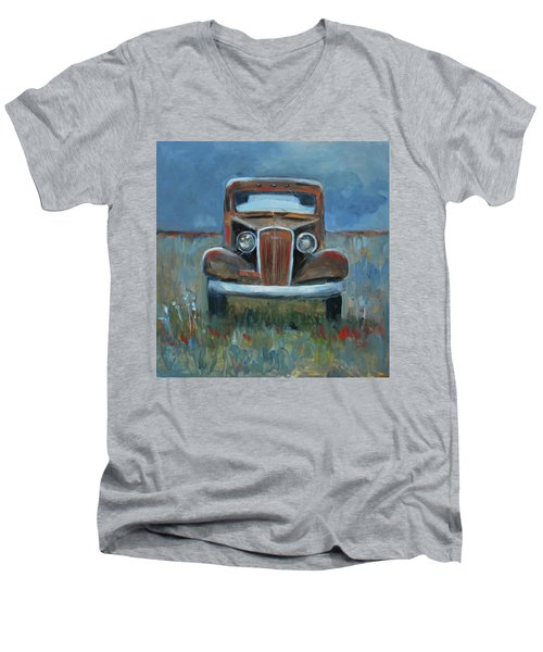 Men's V-Neck T-Shirt featuring the painting Old Timer by Billie Colson