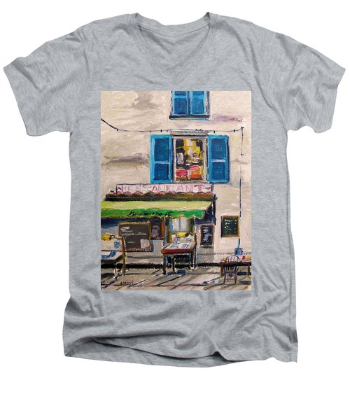 Men's V-Neck T-Shirt featuring the painting Old Town Cafe by John Williams