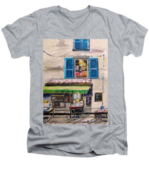 Old Town Cafe Men's V-Neck T-Shirt by John Williams