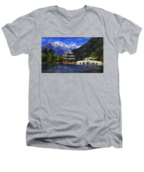 Old Town Of Lijiang Men's V-Neck T-Shirt