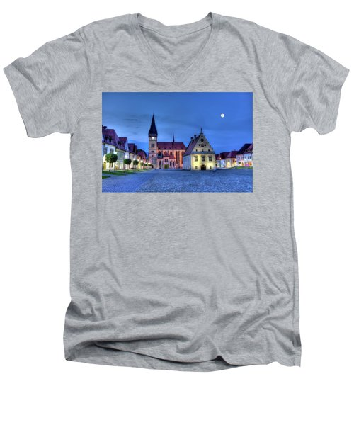 Old Town Square In Bardejov, Slovakia,hdr Men's V-Neck T-Shirt by Elenarts - Elena Duvernay photo