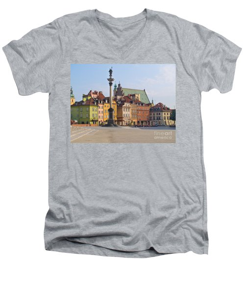 Old Town Square Zamkowy Plac In Warsaw Men's V-Neck T-Shirt by Anastasy Yarmolovich