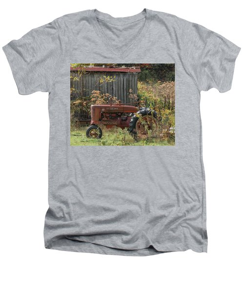Old Tractor On The Farm. Men's V-Neck T-Shirt