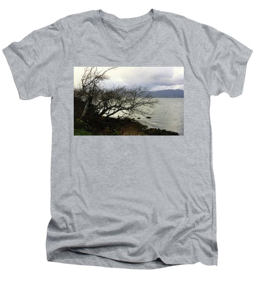 Men's V-Neck T-Shirt featuring the photograph Old Tree By The Bay by Chriss Pagani