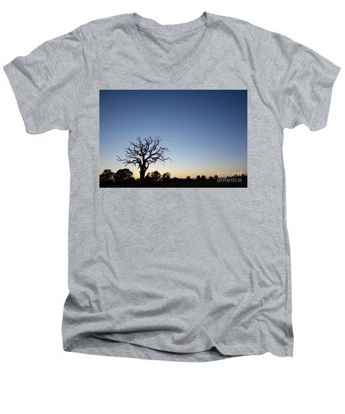 Old Tree Silhouette Men's V-Neck T-Shirt by Kennerth and Birgitta Kullman