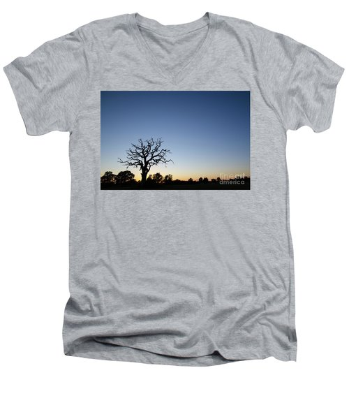 Old Tree Silhouette Men's V-Neck T-Shirt