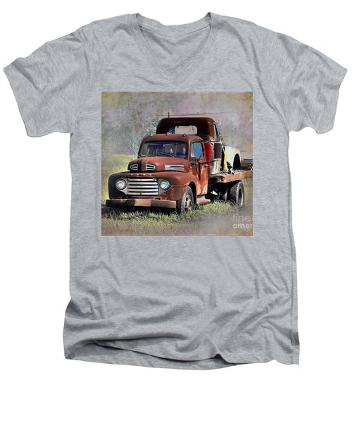 Men's V-Neck T-Shirt featuring the photograph Old Trucks by Savannah Gibbs