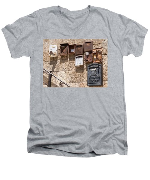 Old  Mailboxes In Jerusalem Men's V-Neck T-Shirt