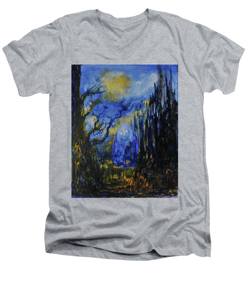 Men's V-Neck T-Shirt featuring the painting Old Ways by Christophe Ennis