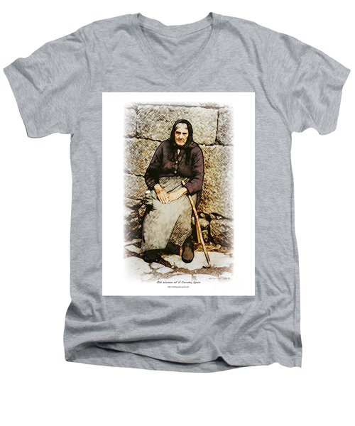 Old Woman Of Spain Men's V-Neck T-Shirt by Kenneth De Tore