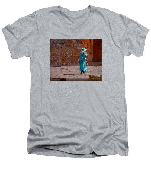 A Woman Walking Home Men's V-Neck T-Shirt by John  Kolenberg