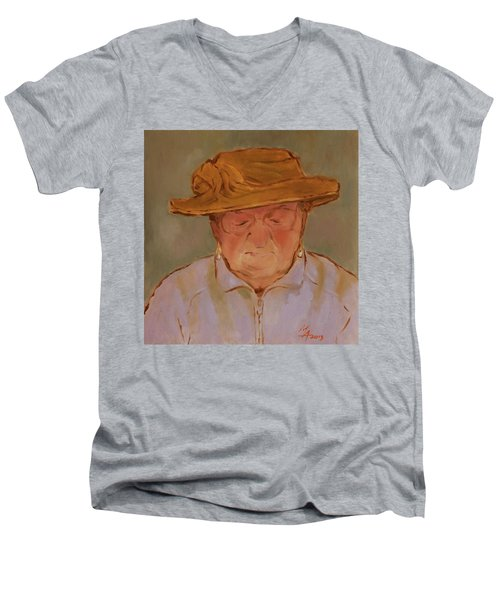Old Woman With Yellow Hat Men's V-Neck T-Shirt