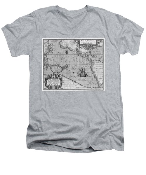 Old World Map Print From 1589 - Black And White Men's V-Neck T-Shirt