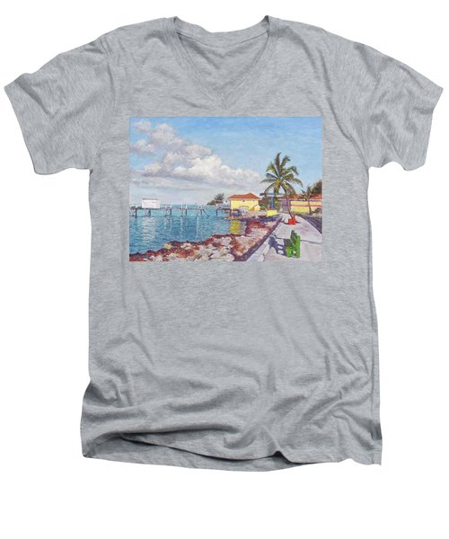 Old Yellow Gas Station By The Waterfront - Cooper's Town Men's V-Neck T-Shirt