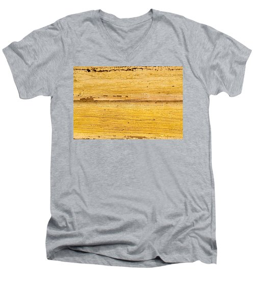 Men's V-Neck T-Shirt featuring the photograph Old Yellow Paint On Wood by John Williams