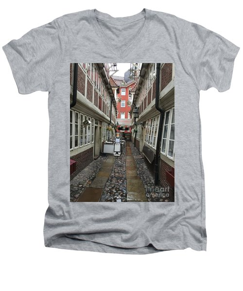 Krameramtsstuben The Oldest Street In Hamburg Germany Men's V-Neck T-Shirt