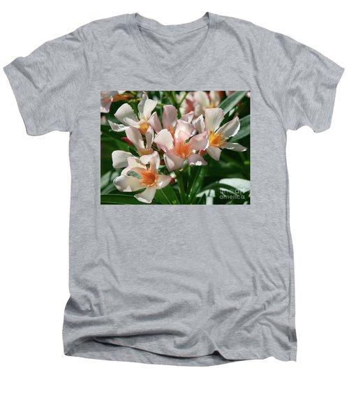 Oleander Petite Salmon 1 Men's V-Neck T-Shirt
