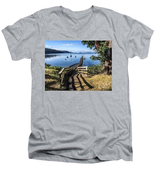 Men's V-Neck T-Shirt featuring the photograph Olga Pier by William Wyckoff