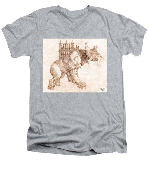 Oliphaunt Men's V-Neck T-Shirt by Curtiss Shaffer