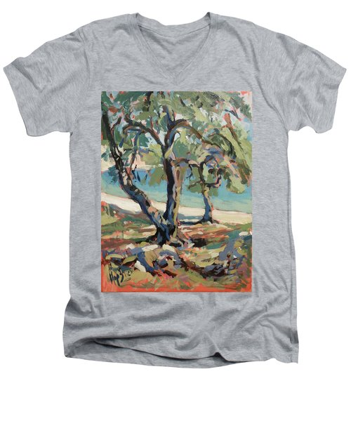 Olive Trees Along Marmari Beach Paxos Men's V-Neck T-Shirt