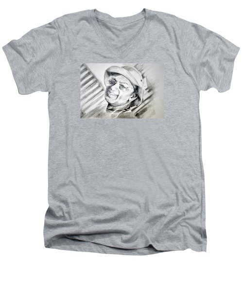 Men's V-Neck T-Shirt featuring the drawing Ollie Christmas by Antonia Citrino