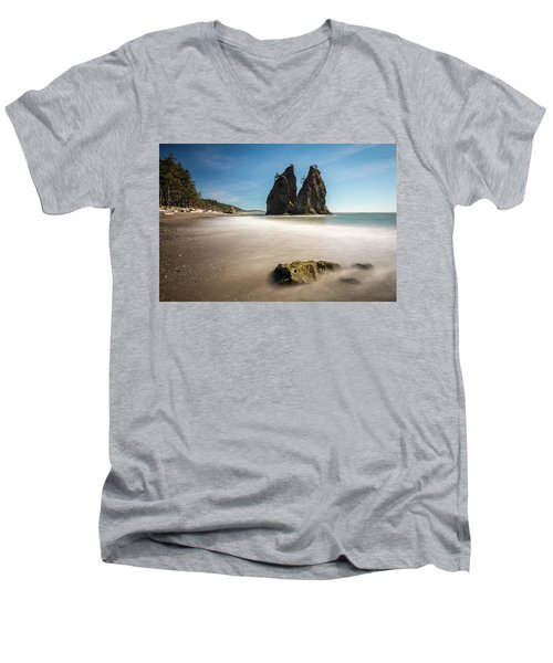 Men's V-Neck T-Shirt featuring the photograph Olympic Shoreline by Pierre Leclerc Photography