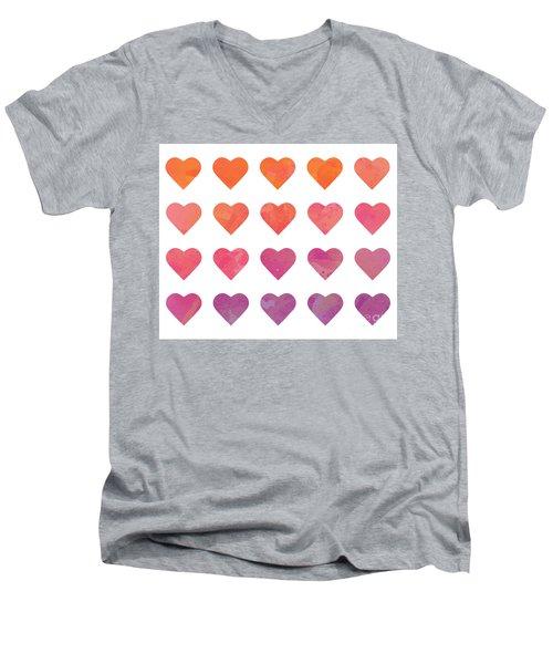Ombre Hearts Men's V-Neck T-Shirt by Whitney Morton
