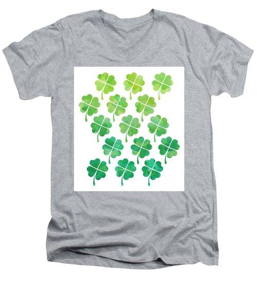 Ombre Shamrocks Men's V-Neck T-Shirt by Whitney Morton