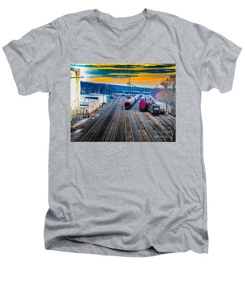 On A Suffern Railroad Track Men's V-Neck T-Shirt