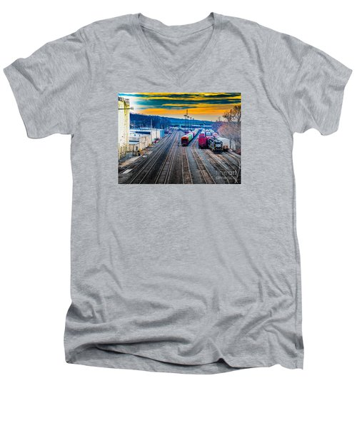 On A Suffern Railroad Track Men's V-Neck T-Shirt