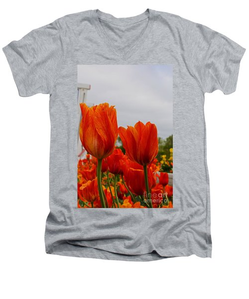 Men's V-Neck T-Shirt featuring the photograph On Fire by Robert Pearson