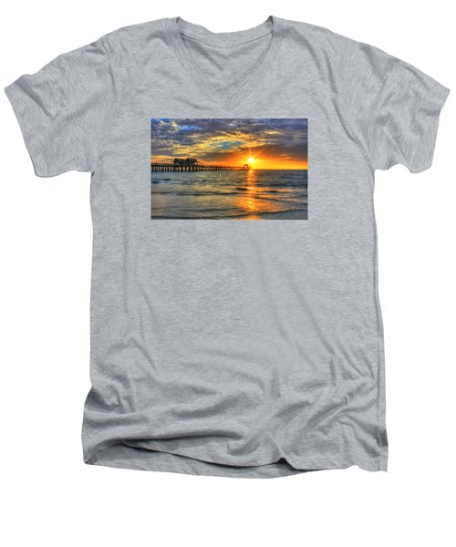 Men's V-Neck T-Shirt featuring the digital art On Fire by Sharon Batdorf