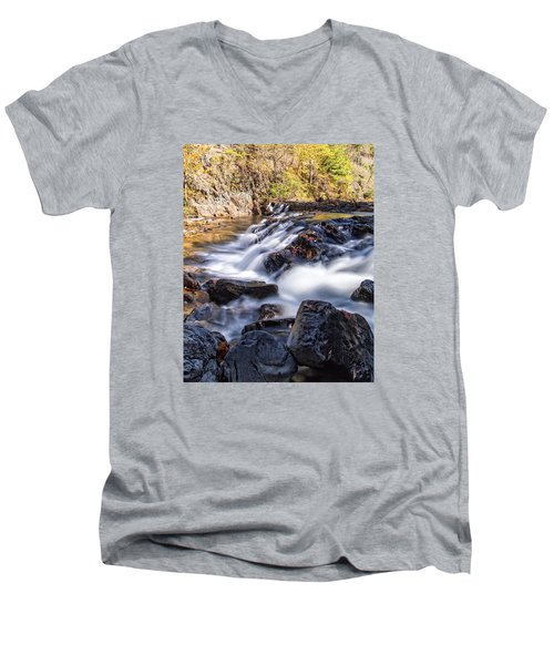 Men's V-Neck T-Shirt featuring the photograph On Jennings Creek by Alan Raasch