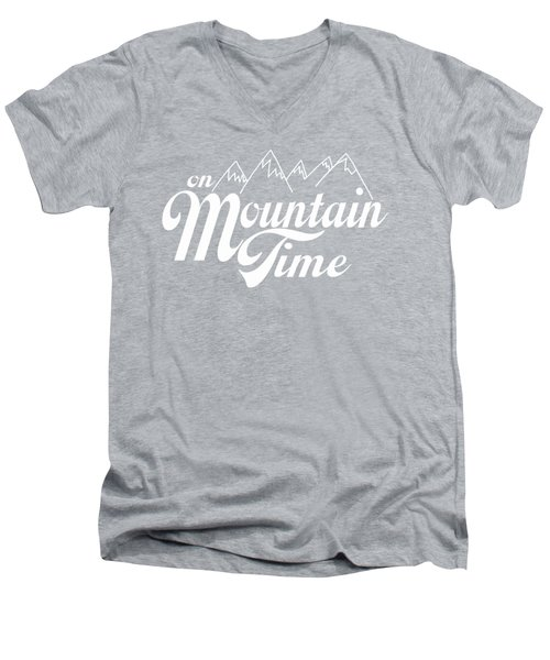 On Mountain Time Men's V-Neck T-Shirt by Heather Applegate