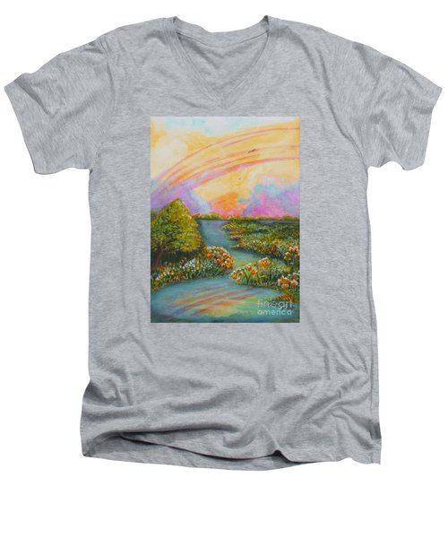 On My Way Men's V-Neck T-Shirt by Holly Carmichael