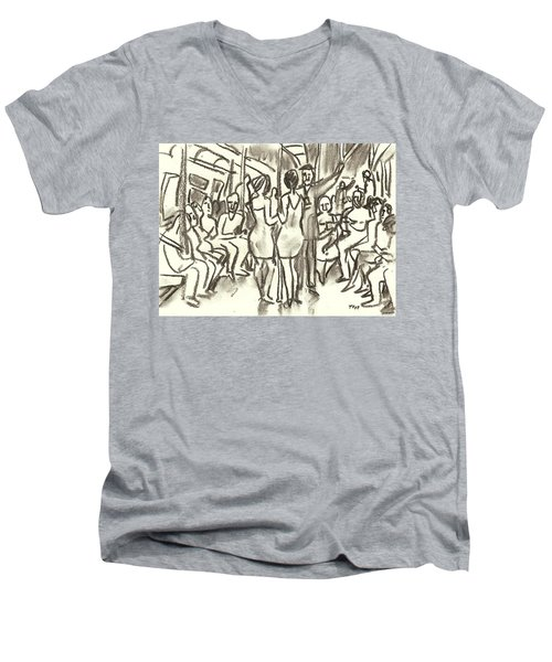 On The A, New York City Subway Drawing Men's V-Neck T-Shirt