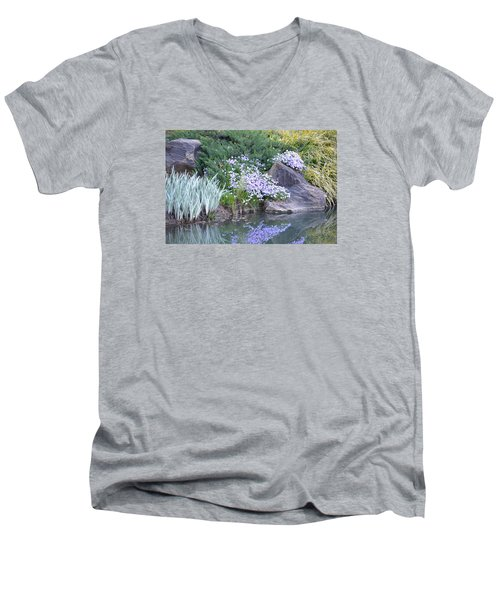 Men's V-Neck T-Shirt featuring the photograph On The Banks Of The Pool by Linda Geiger
