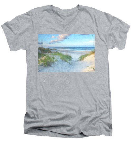 On The Beach Watercolor Men's V-Neck T-Shirt by Randy Steele