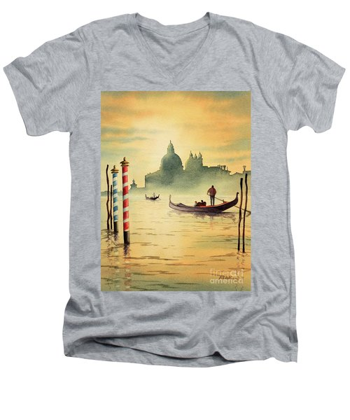 Men's V-Neck T-Shirt featuring the painting On The Grand Canal Venice Italy by Bill Holkham