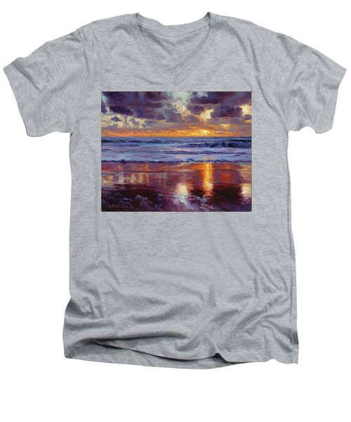 Men's V-Neck T-Shirt featuring the painting On The Horizon by Steve Henderson