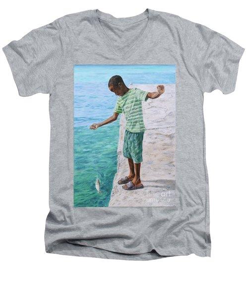 On The Line Men's V-Neck T-Shirt