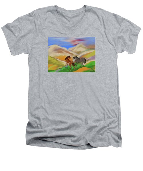 On The Mountian Men's V-Neck T-Shirt