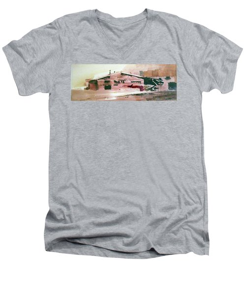 Men's V-Neck T-Shirt featuring the painting On The Ranch by Ed Heaton