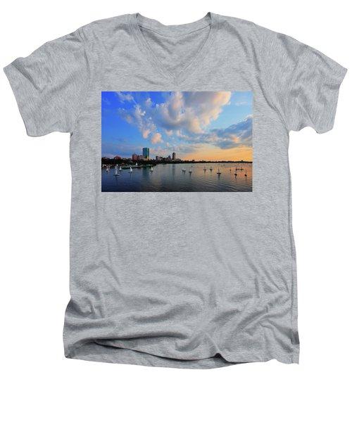 On The River Men's V-Neck T-Shirt by Rick Berk