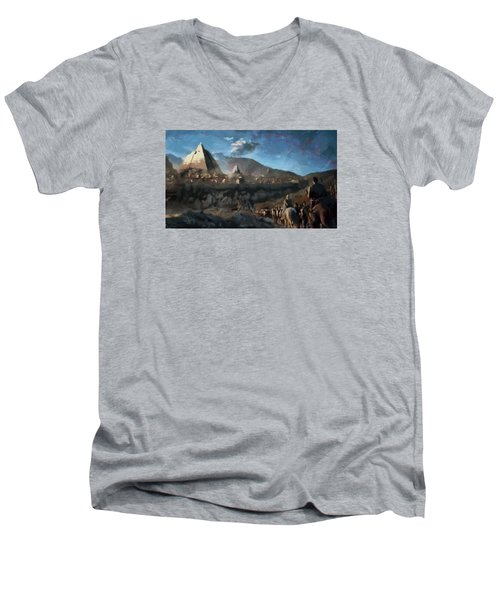 Men's V-Neck T-Shirt featuring the painting On The Road To Meereen by Mario Carini