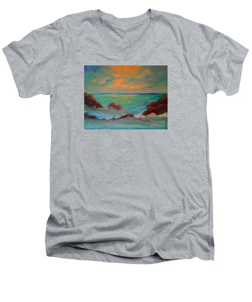 On The Rocks Men's V-Neck T-Shirt by Holly Martinson