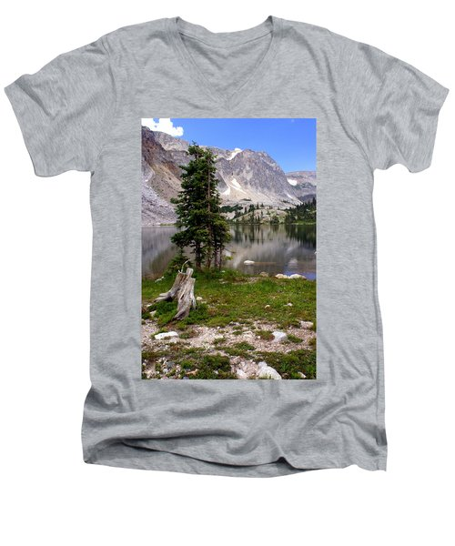 On The Snowy Mountain Loop Men's V-Neck T-Shirt by Marty Koch